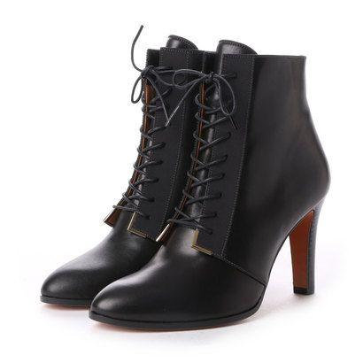 ランバン オン ブルー LANVIN en Bleu レースアップショートブーツ (ブラック) -靴とファッションの通販サイト ロコンド