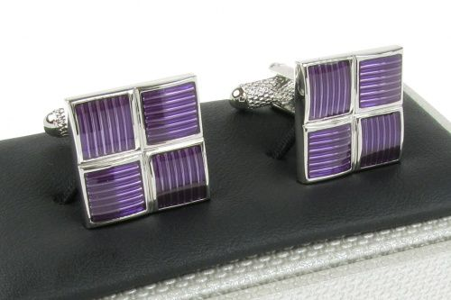 Square Purple and Silver Coloured Cufflinks