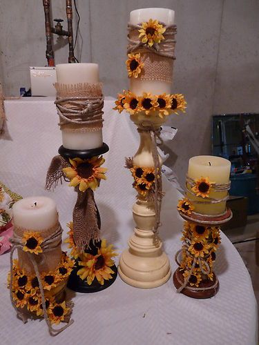 Sunflower Rustic wedding Candles | eBay