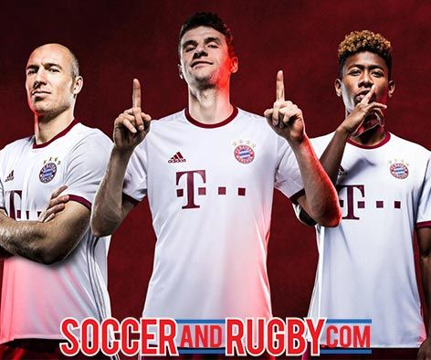 The new Bayern Munich 2016-17 third kit is white with accents in silver and red and bearing the iconic Telekom sponsor logo on the front. #soccerandrugby #BayernMunich #adidasfootball  #firstneverfollows get yours 8/1/16 at http://ss1.us/a/8gvCSP9J