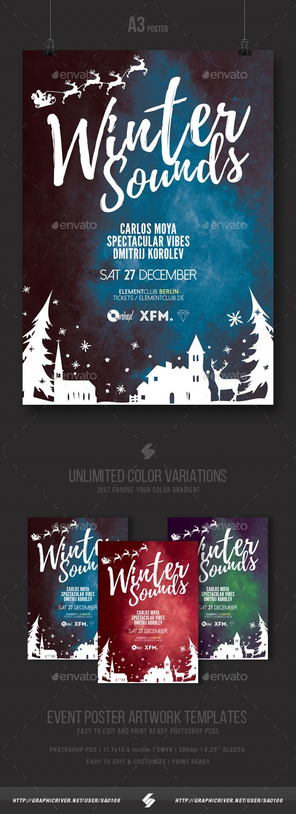 Winter Sounds  Christmas Party Flyer / Poster Template A3 — Photoshop PSD #11.7x16.5 #music • Download ➝ https://graphicriver.net/item/winter-sounds-christmas-party-flyer-poster-template-a3/18979231?ref=pxcr