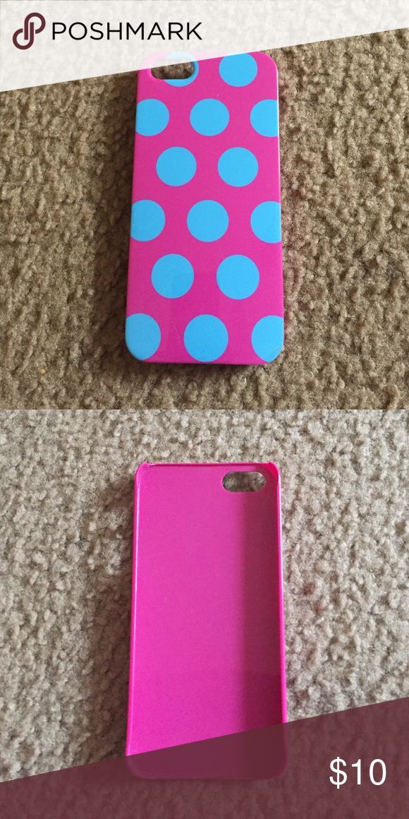iPhone 5 case Pink and blue polka dots. Fits tight Accessories Phone Cases