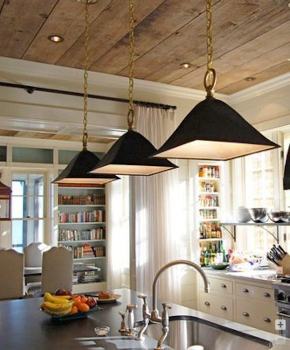 Jen Loves This Unexpected Wood Plank Ceiling Image Via Dream Cool Things Pinterest Kitchen Ceilings And Home