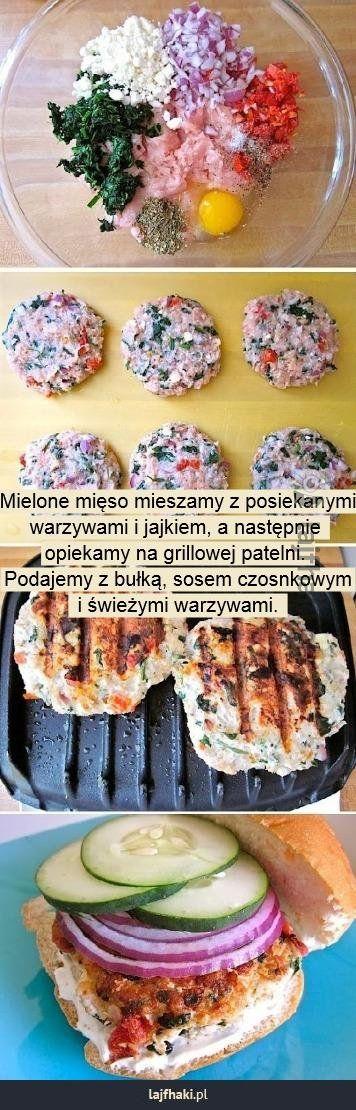 Grillowany burger - Mielone mięso mieszamy z posiekanymi warzywami i jajkiem, a następnie opiekamy na grillowej patelni. Podajemy z bułką, sosem czosnkowym i świeżymi warzywami.