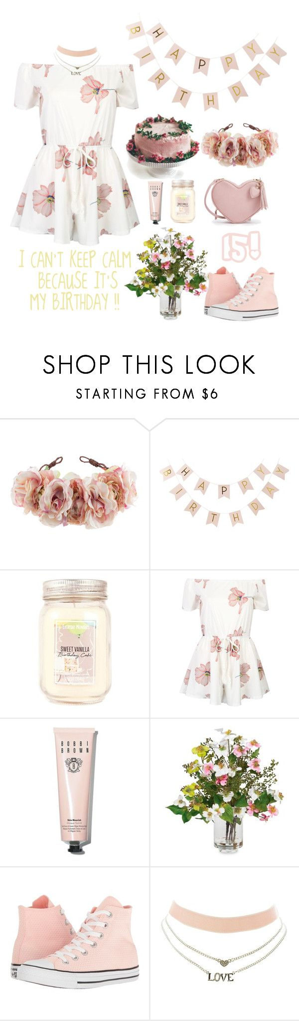 """""""IT'S MY BIRTHDAY !!!! 😊"""" by hermiona355 ❤ liked on Polyvore featuring Rock 'N Rose, Ginger Ray, WithChic, Bobbi Brown Cosmetics, Nearly Natural, Converse and Charlotte Russe"""