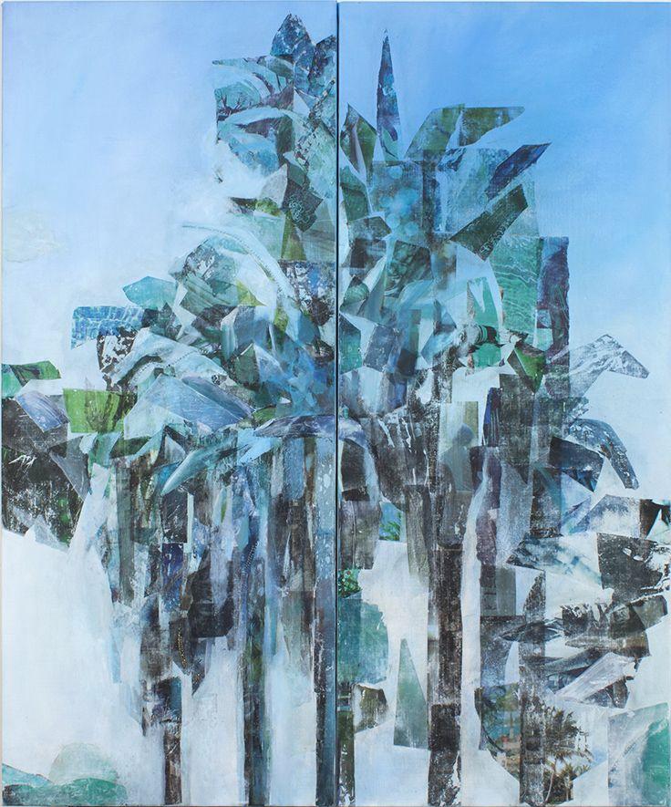 Mari Jäälinoja, Palm Spings, 2016, diptych, acrylic, collage and rhinestones on canvas, 140x58cm