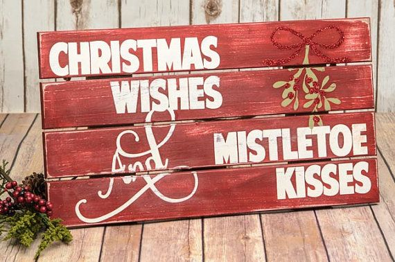 Christmas Pallet Sign Christmas Wishes Mistletoe by DesignedSigns