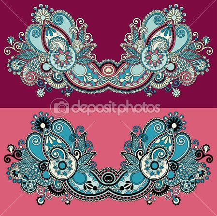 diseño de moda escote adornado bordado floral de paisley — Ilustración de stock #31773379