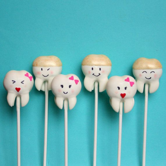 12 Sweet Teeth Cake Pops for Tooth Fairy, Dentist, Orthodontist, Dental Hygienist, Graduation Party favor, Birthday gift, Braces Removal