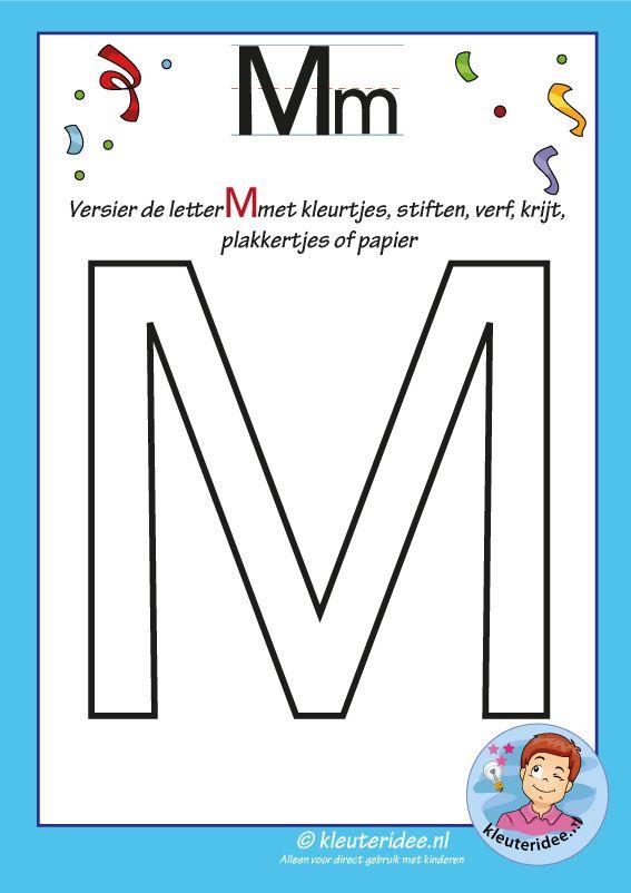Pakket over de letter m blad 6, versier de hoofdletter M, kleuteridee, free printable