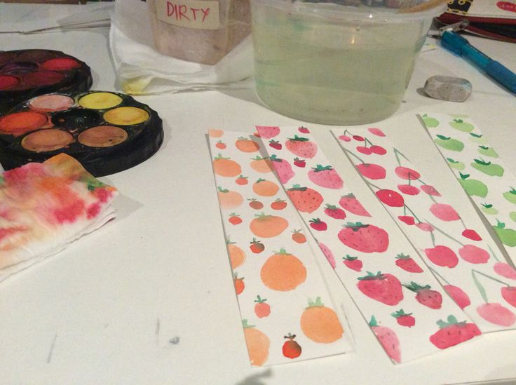 Watercolour bookmarks by Bianca Barrozo