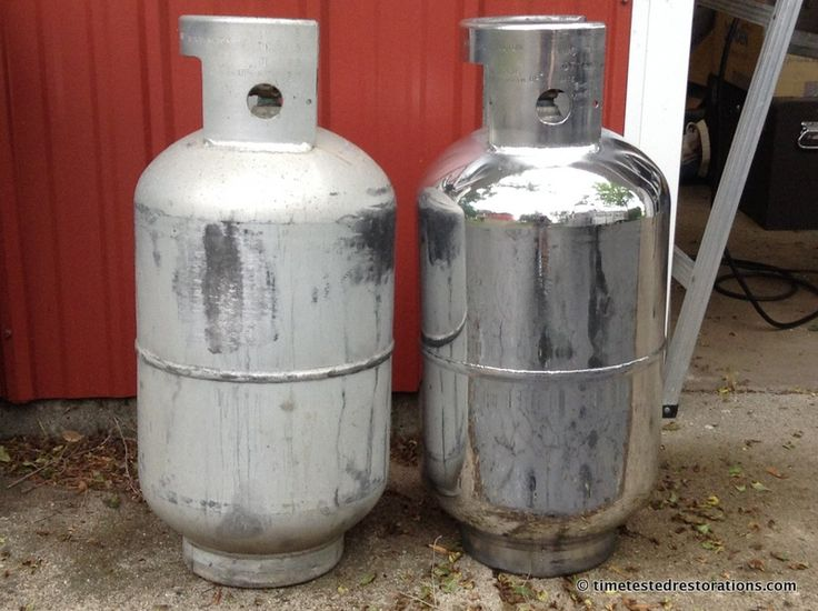 Which would you rather have on your trailer? Airstream Propane tank polished by Time Tested Restorations.