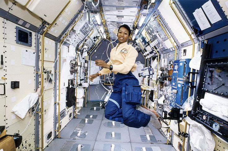 Astronaut Mae Jemison working in Spacelab-J, October 22, 1992  Mae Jemison onboard Space Shuttle Endeavour (STS-47) working in Spacelab-J module.