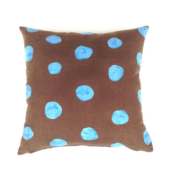 Brown Cushion Cover. Blue Spot on Chocolate. Brown Decor.