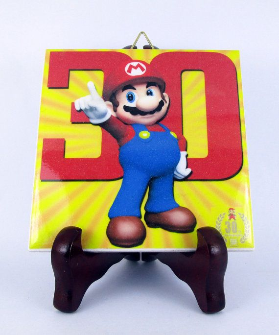 Super Mario Bros 30th Anniversary Ceramic Tile by TerryTiles2014
