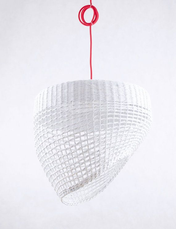 White hanging eco lamp Geometric original simple shape Light paper pendant lamp Decorative ceiling light Nordic Scandinavian style - Oslo by Barborka Design.