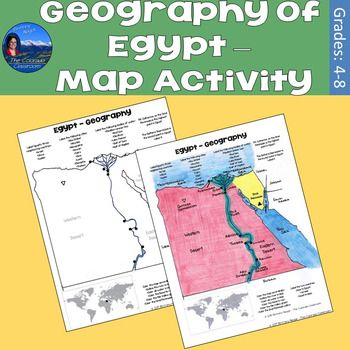 Geography of Egypt  Map Activity is a 6-page resource that allows you to map the physical and political attributes of Egypt.  Students are provided with a map of Egypt to map the physical and political characteristics of the country.  A colored answer key is provided.