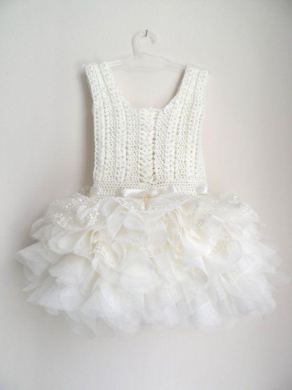 Ivory lace and tulle Baby Tutu Dress. Baby dress by AylinkaShop