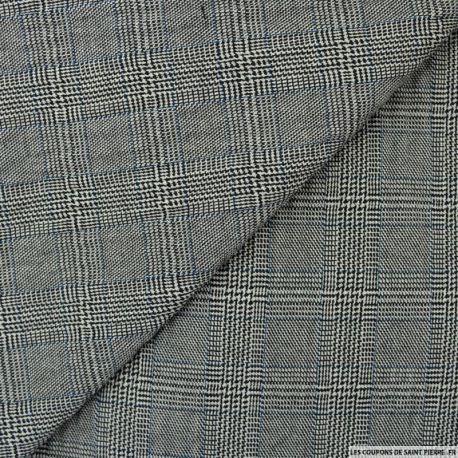 Prince de Galles Polyester noir bleu et blanc  Prince de Galles Polyester noir bleu et blanc est de nature souple, résistante. Il vous offrira une multitude de possibilité d'utilisation. Le prince de Galles possède un motif composé de carreaux qui sont reliés entre eux par des effets de rayures verticales et horizontales. Ce tissu vous permettra de réaliser des vestes, des jupes,pantalons....