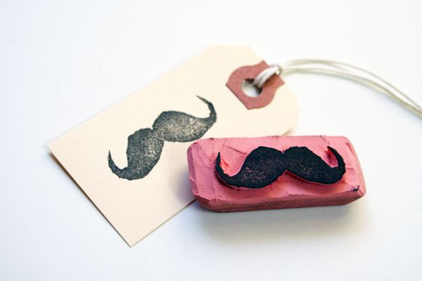 Make for xmas tags: Crafts Ideas, Mustache Stamps, Moustache, Diy'S, Eraser Stamp, Era Stamps, Diy Rubber, Rubberstamp, Rubber Stamps