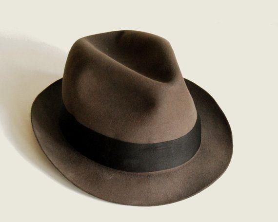 Vintage Mens Fedora Hat Fur Felt Brooks Brothers by CalloohCallay, $58.00