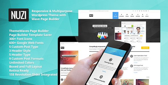 Nuzi - Multipurpose, Retina Ready, Business Theme   Created: 28May13 LastUpdate: 2August14 Columns: 4+ CompatibleBrowsers: IE8 #IE9 #IE10 #Firefox #Safari #Opera #Chrome SoftwareVersion: WordPress3.9 CompatibleWith: Facebook #Bootstrap2.3.x Documentation: WellDocumented HighResolution: Yes Layout: Liquid ThemeForestFilesIncluded: PHPFiles #CSSFiles #JSFiles WidgetReady: Yes Tags: carousel #css3 #customwidgets #html5 #modern #multipurpose #nuzi #pagebuilder #postformat #posttype #responsive…