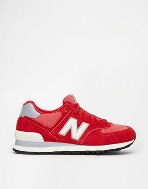 New Balance - 574 Rote Turnschuhe aus Wildleder/Netz - Rot