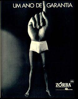 anúncio cueca Zorba de 1973