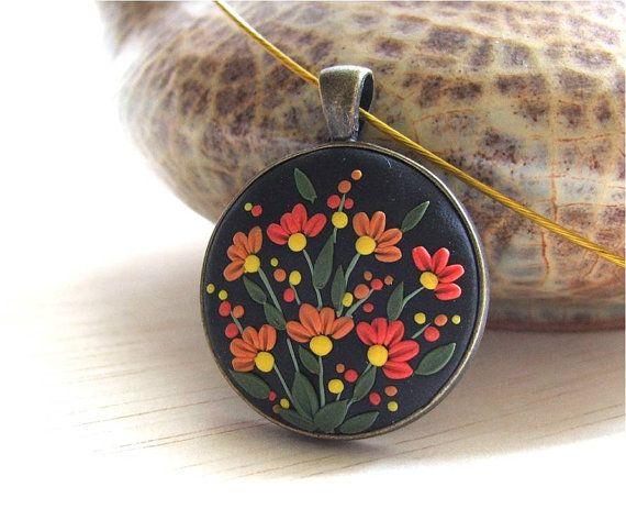 Christmas Gift Floral Pendant Black Pendant Orange by Floraljewel