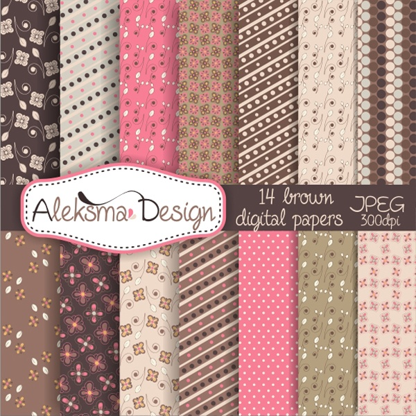 Set of brown and pink digital papers perfect for invitations, cards, scrapbook and all other prints.