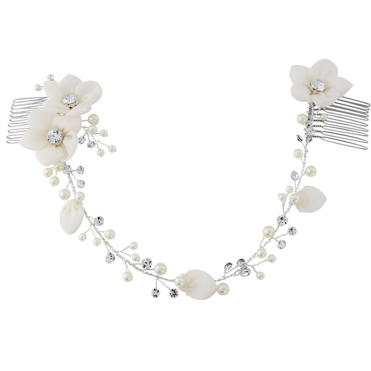 The Anais Bridal Hair Vine has been beautifully designed with ivory crystal embellished flowers on a silver plated finish.Presented in Roman