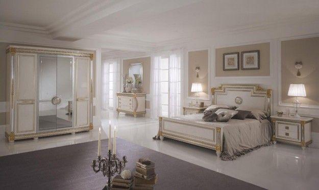 Camera da letto Arredoclassic - Camera da letto in stile liberty con dettagli gold per gli arredi