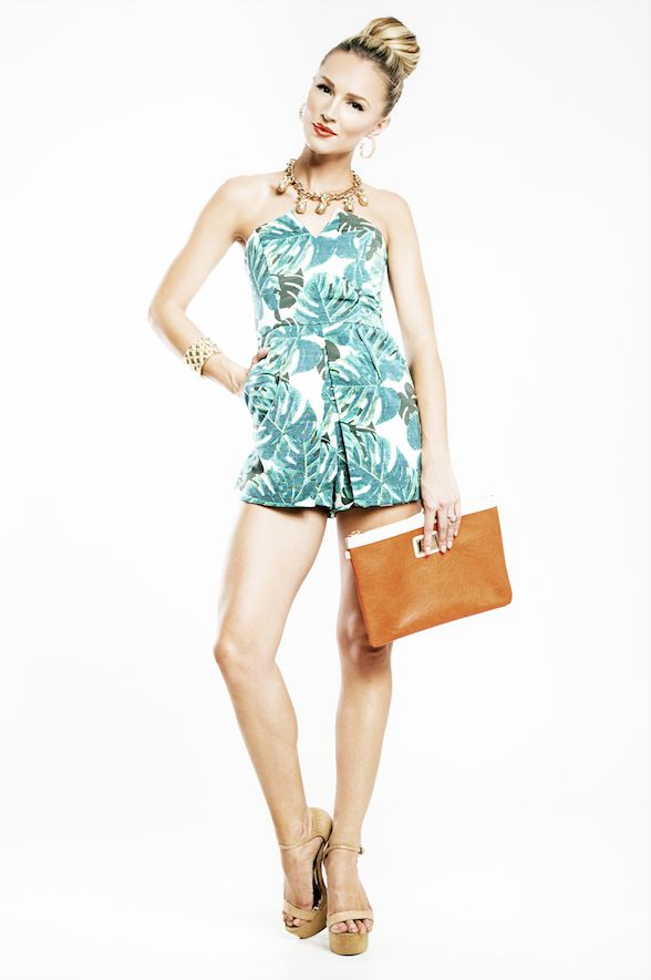 Day 4 - Today Melinda is wearing a romper from Topshop and Zoom shoes. She accessorises with a clutch, bracelet and necklace from Colette by Colette Hayman and Lovisa earrings.