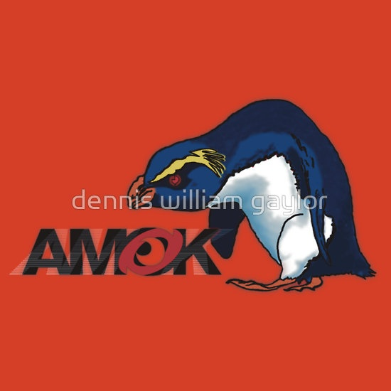 AMOK - VXP Vin the Xtreme Penguin is always running amok! T-Shirts & Hoodies by dennis william gaylor, custom illustrated posters, prints, tees. Unique bespoke designs by dennis william gaylor .:: watersoluble ::.