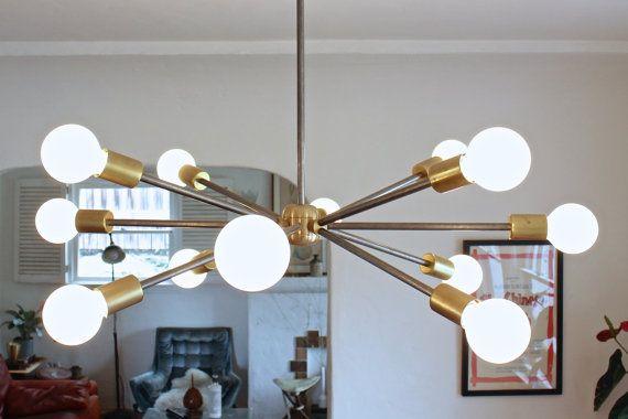 mid century modern sputnik style chandelier // rustic modern brass and unpolished steel exposed edison light bulb lighting