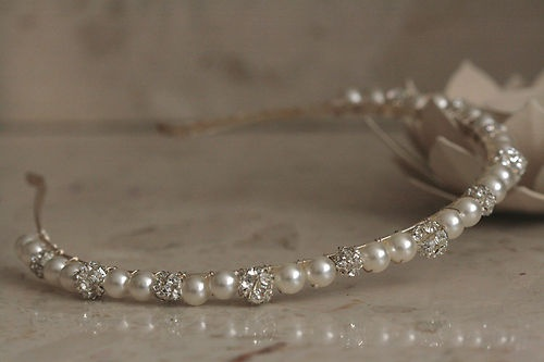 Handmade Hairband Tiara made with Swarovski Crystal Rhinestones & Pearls | eBay