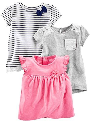 bc921bef99e59 Simple Joys by Carter's Baby Girls' Toddler 3-Pack Short-Sleeve Shirts and  Tops