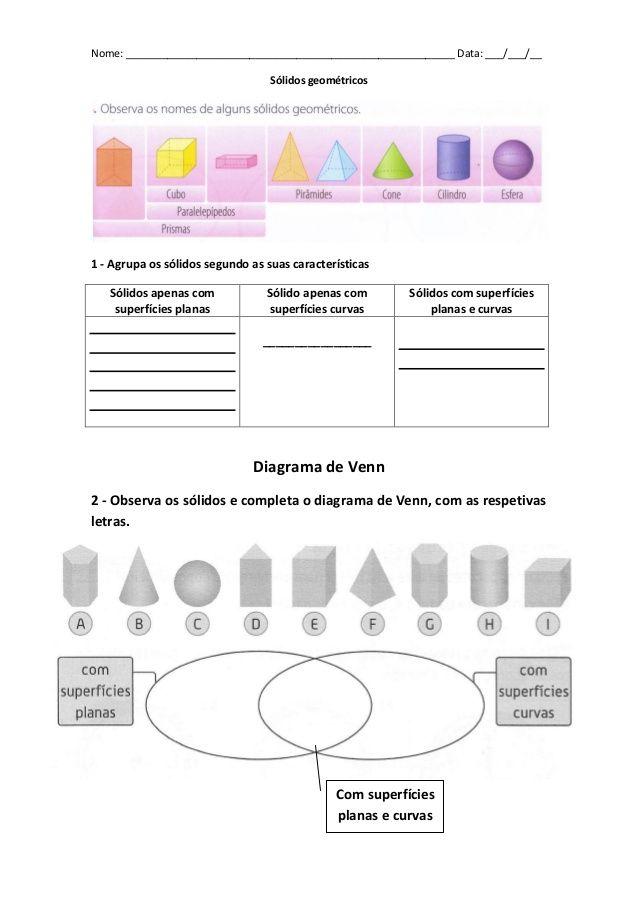 Ficha com Diagrama de venn e pictogramas