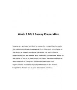 Surveys are an important tool to assess the competitive forces in the marketplace regarding pay practices. The most critical step in the survey process is obtaining the proper job match.… (More)