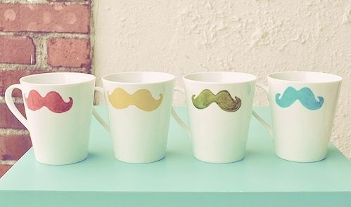 mustache cups: Birthday Presents, Mustache Parties, Moustache, Color, Teas, Crafts Day, Cute Mugs, Coff Cups, Pottery Paintings