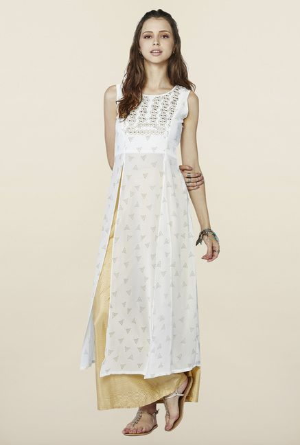 Global Desi Off White Printed Kurta