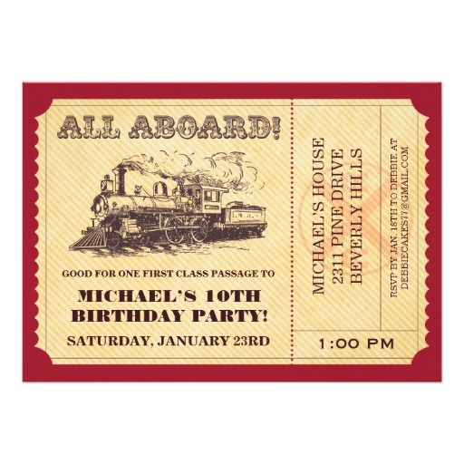 418 best Train Birthday Party Invitations images on Pinterest