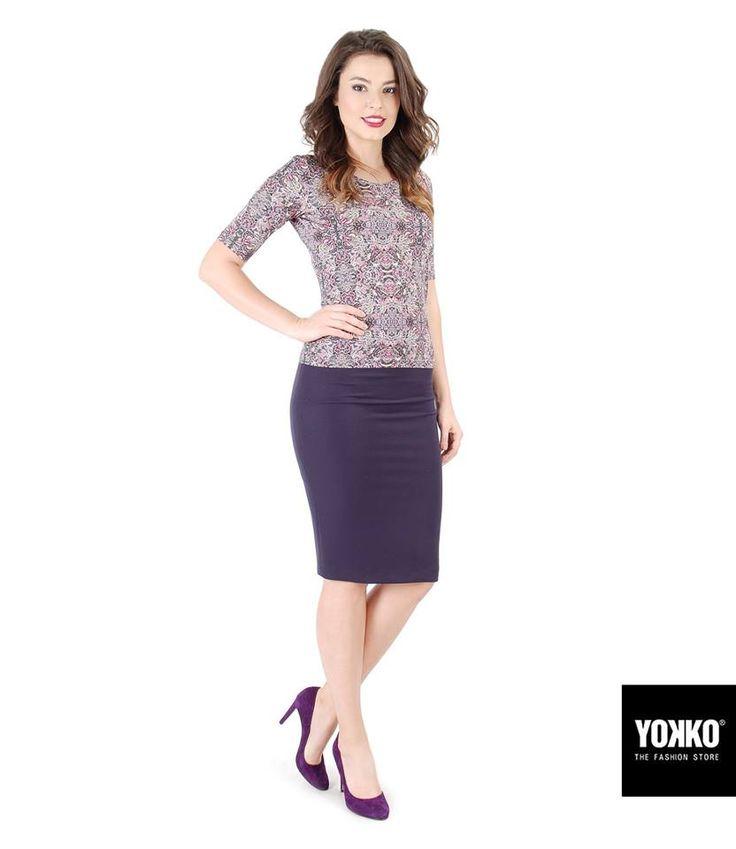 🌸 Tonuri violet! YOKKO |fall16 #skirt #blouse #print #style #dayoutfit #violet #yokko #fashion