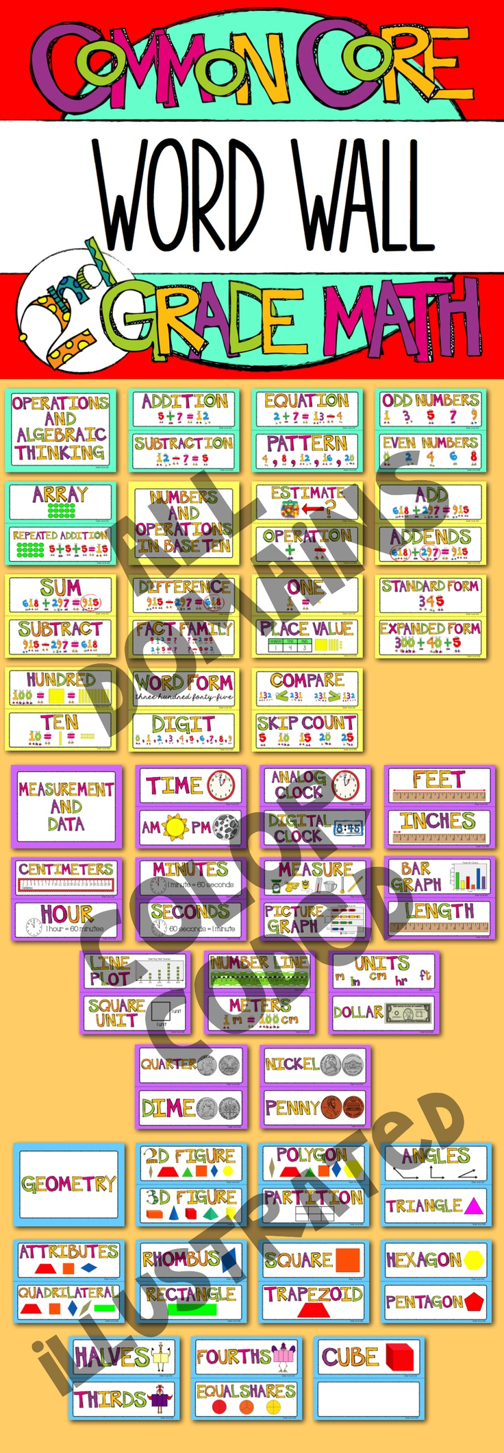 2nd Grade Common Core Math Word Wall - Illustrated vocabulary cards that are color coded by domain! $