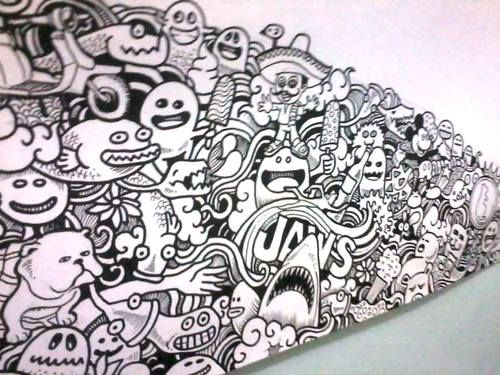 Doodled family tree illustration by kerby rosanes for Cool wall art drawings