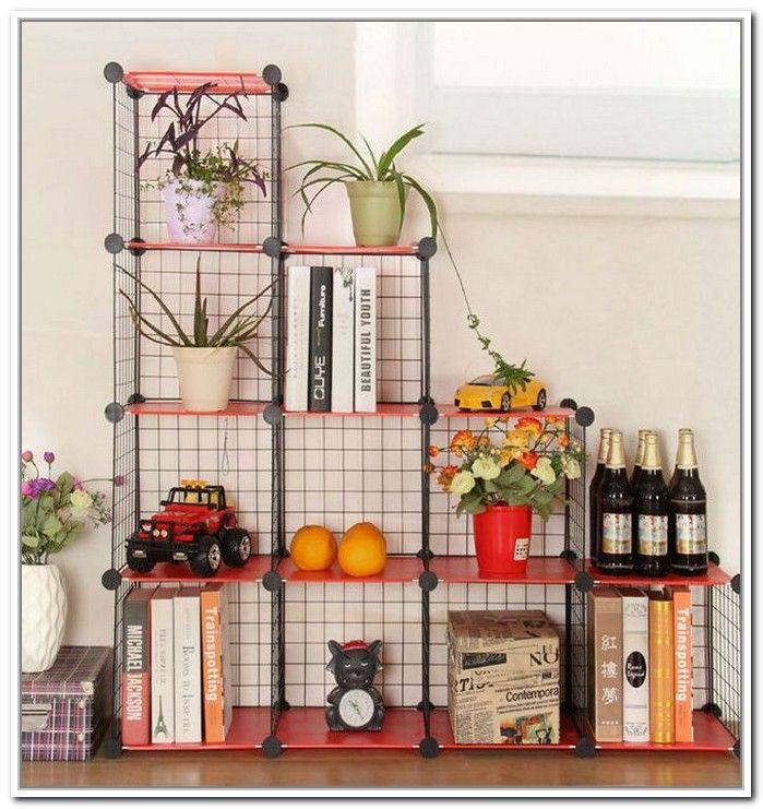 Wire cube storage - could go inside a closet or even out.  Stores very small, and you can customize it to fit your space.