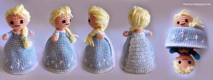 Check this crochet 2-in-1 Elsa doll.  The pattern is in Spanish so you will need a translation program to decipher.