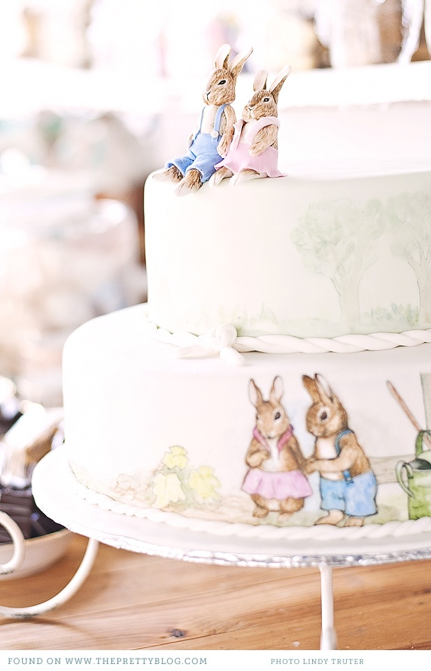 Rabbit birthday or wedding cake. How about a garden party cake?