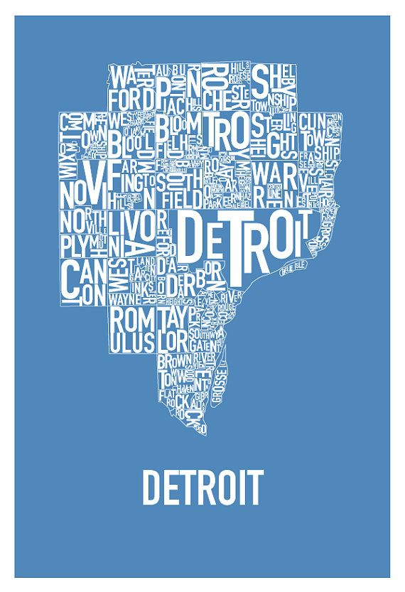 Detroit Typography Map Poster Lions Blue by HunterLangstonArt, $30.00