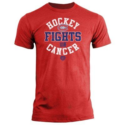 Mens Montreal Canadiens Old Time Hockey Red Hockey Fights Cancer Macondray T-Shirt